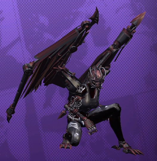 Crouching woman with extensive cybernetic enhancements including claws and metal wings